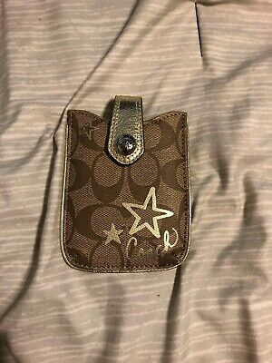 COACH Beige Signature C Small Cell Phone Holder Pouch Case NEW