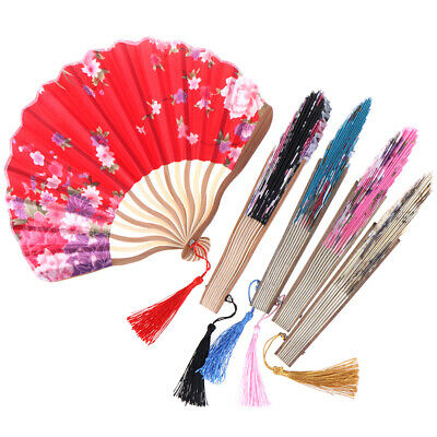 Pattern Chinese Style Hand Held Silk Bamboo Folding Fans Wedding Hand Fan V gvP0