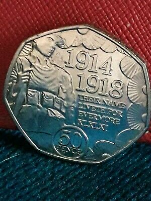 IOM Manx 2018 Remembrance Day WW1 Poppy 50p Coin