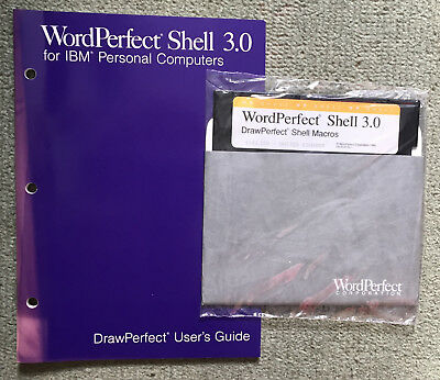 Vintage WordPerfect Shell 3.0 software, SEALED DISK, DrawPerfect Macros IBM PCs