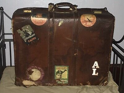 Antique Old Worn Leather Suitcase Luggage Travel Stickers Prop Decor Monogrammed