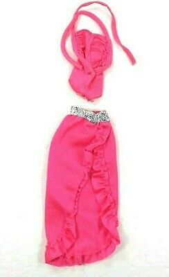 Vintage Barbie Twirly Curls 1982 Pink Outfit Long Ruffled Skirt & Body Suit
