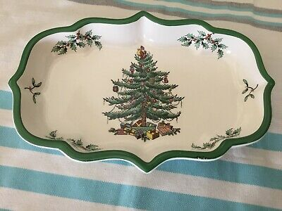 """SPODE Christmas Tree Snack Tray 9"""" Appetizer Candy Dish Made In England"""