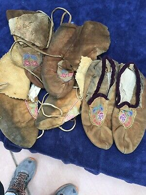 Collection Of Canadian Indian Metis Moccasins 3 Pair