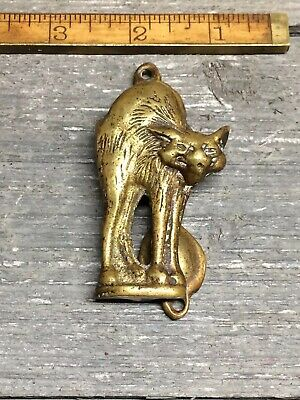 Vintage Brass SCAREDY-CAT Door Knocker ~ ARCHED BACK CAT