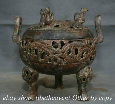 "7.6"" Old Chinese Bronze Ware Western Zhou Dynasty Dragon Phoenix Hollow Censer"
