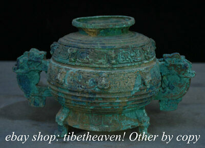 """9.2"""" Old Chinese Bronze Ware Western Zhou Dragon Handle Lid Incense Burners"""