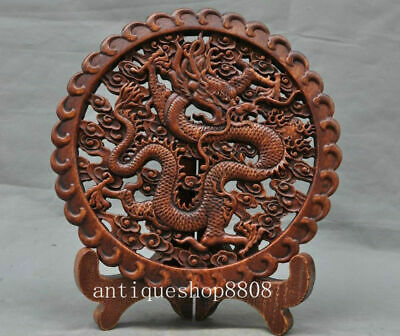"""11""""Antiques Chinese Old Boxwood Hand-Carved Fengshui Dragon lucky Statue Screens"""