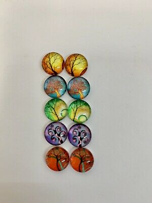 5 Pairs Of 10mm Glass Cabochons #1002