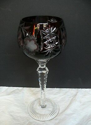 """Vtg Ruby Red Cut to Clear Crystal Wine Hock Goblet Glass Czech Bohemian 8.5"""" WOW"""