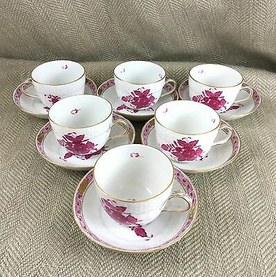 Herend Porcelain Demitasse Teacups & Saucers Set Pink Chinese Bouquet Hungary