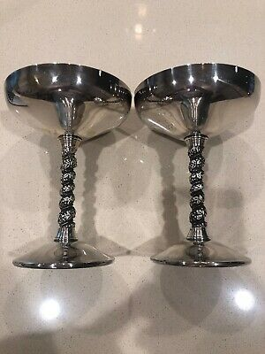 Lot of 2 FB Rogers Silver Plate Twisted Stem Goblets Made in Spain