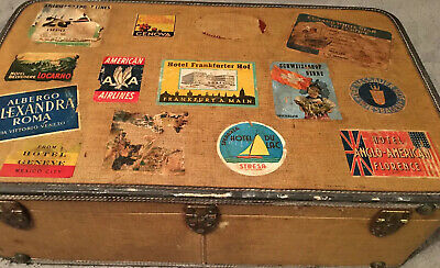 Vintage Boyle Well Traveled Suitcase w/ Travel Stickers Europe S. America Mexico