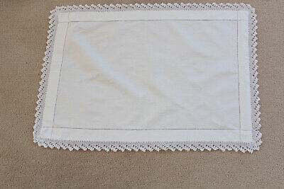 Vintage rectangular linen tray cloth/table topper with crochet edge.