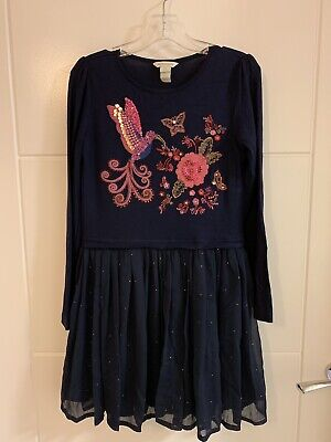 Girls Monsoon Navy Bird Floral Embellished Party Dress 9-10 Years