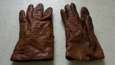 Very Small Vintage Tan/Brown Leather Gloves