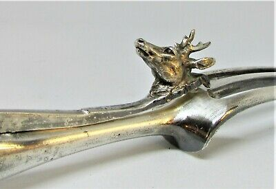 S/Silver Handled Carving Fork with Stag Head Guard Unusual Collectible &  RARE