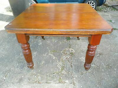 Victorian Mahogany Wind Out Table with Carved Legs and Castors