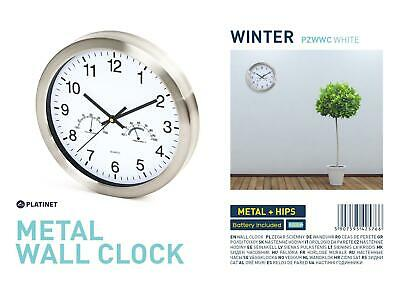 PLATINET Large Wall Clock Quartz Temperature Humidity Display Indoor Kitchen