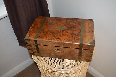 Antique  Large Walnut Brass Inlaid Writing Box / Slope for Restoration