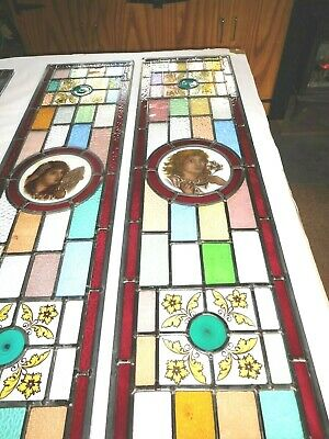 Stained Glass Door Panels Or Sidelights Hand Painted Classic Maidens