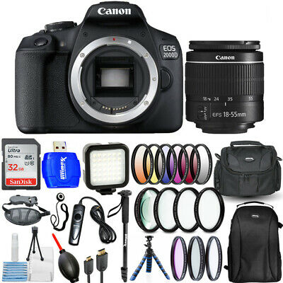 Canon EOS 2000D / Rebel T7 3 Lenses 18-55mm with 32GB Filter Kit Backpack Bundle