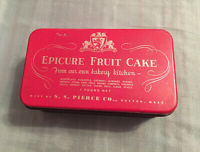 Vintage Epicure Fruit Cake Tin from S.S. Pierce Co Boston