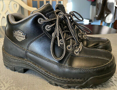Men's Harley Davidson Black Boots Size 8.5 STEEL TOE MOTORCYCLE RIDING Leather