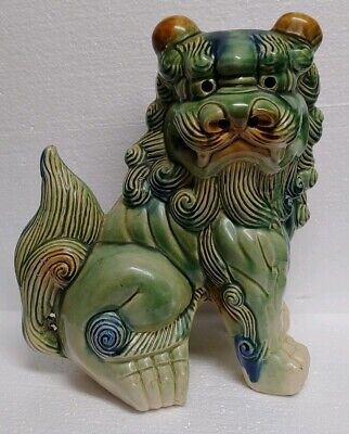 Antique Vintage Chinese Large Glazed Ceramic Foo Dog Fu 12 inches