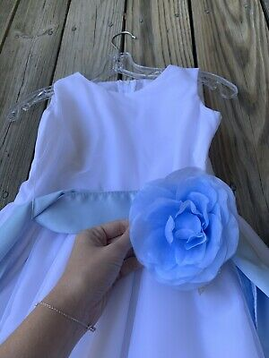 Blossom Wedding Party Girls White Belted Flare Dress Sz 10