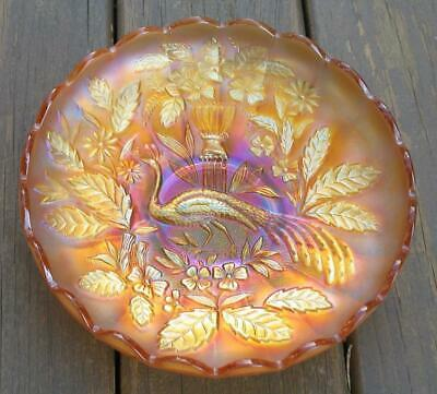 "Northwood Marigold Carnival Glass ""Peacock & Urn"" Master Ice Cream Bowl"