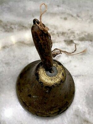 Antique Primitive Blacksmith-Forged Metal School Bell Hand-Carved Wooden Handle