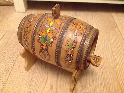 Mini vintage pyrography/painted decorated wooden barrel/keg with stand