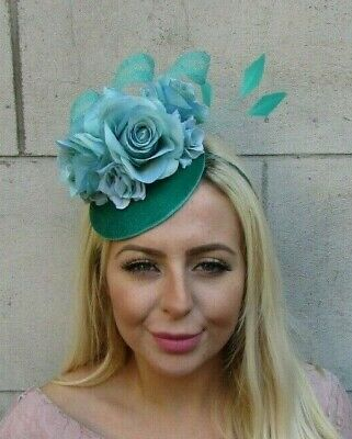 Turquoise Sea Green Rose Flower Feather Hat Fascinator Races Hair Wedding 7719