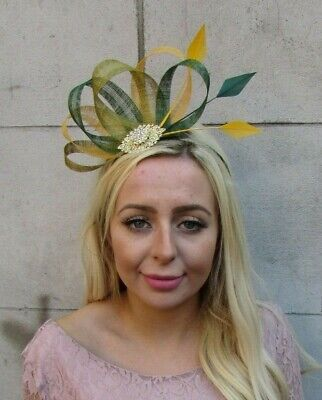 Olive Dark Bottle Green Mustard Yellow Gold Fascinator Hair Feather Sinamay 7720