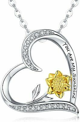 """Sunflower Necklace Sterling Silver""""You Are My Sunshine"""" Engraved  (Sunflower 1)"""