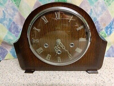 Smiths 8 Day  Oak Case, Westminster Chimes Mantel Clock Good Working Order