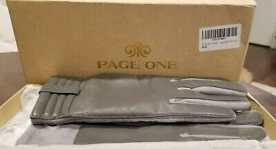 Brand New- PAGE ONE Women's Genuine Gray Leather Driving Gloves in Size Medium