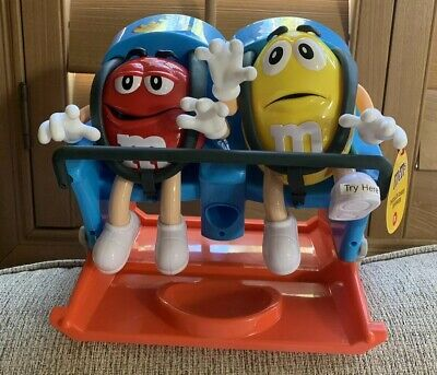 M&M's World Roller Coaster Candy Dispenser Red Yellow New wTag Christmas Gift 🎁