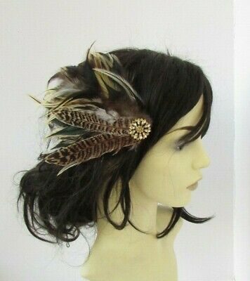 Gold Brown Pheasant Feather Fascinator Hair Clip Races Wedding Headpiece 7728