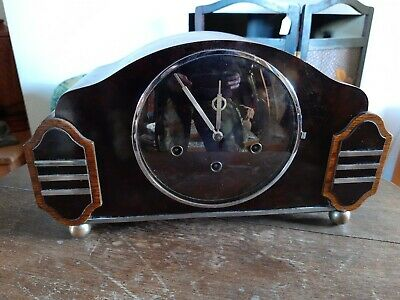 H.A.C Art Deco 8 Day Westminster Chimes Mantel Clock Good Working Order Recently
