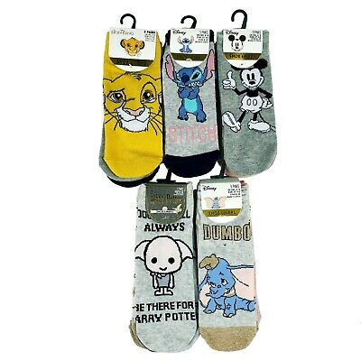 Ladies,Girls  Socks 3-Pack - Harry Potter And Disney Stitch ,Minnie Mouse, Dumbo