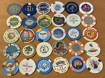 Lot of 30 Diff $1 Las Vegas Casino Chips #1 - Many Vintage Chips - Blowout Deal