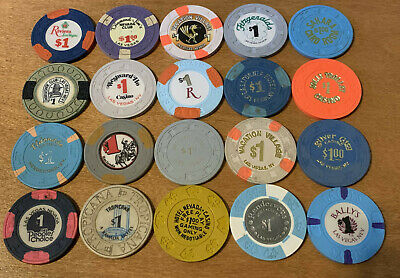 Lot of 20 Diff $1 Vintage Las Vegas Casino Chips #7 - Older Chips - Blowout Deal
