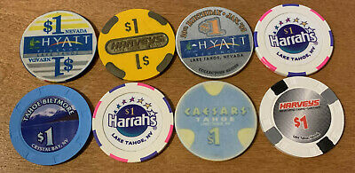 Lot of 8 Diff Lake Tahoe Nevada Casino Chips - Older Chips - Blowout Deal