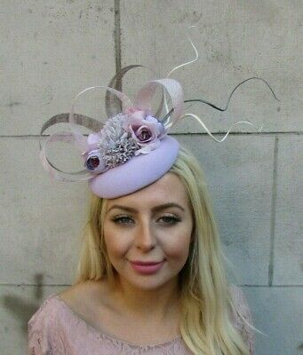 Lilac Grey Ivory Light Purple Rose Flower Feather Hat Hair Fascinator Races 7735