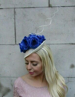 Cream Ivory Royal Blue Rose Flower Feather Disc Saucer Hat Fascinator Races 7736