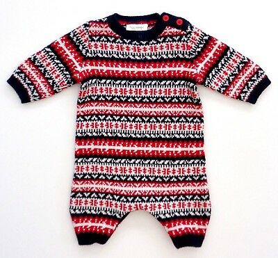 NEXT Baby Boys Navy Blue Red Fairisle Knitted Romper All In One Newborn 7.8lbs