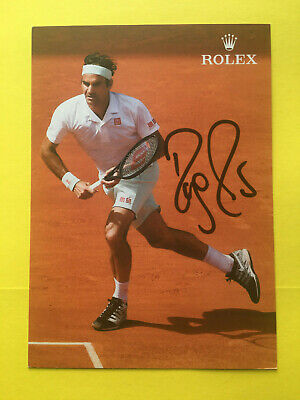 ROGER FEDERER- >  Hand Signed Autographed 4x6 Color Rolex photo on the court !