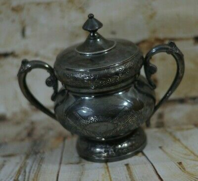 Antique Wilcox Silver Plate Victorian Container Eastlake Japanese Revival